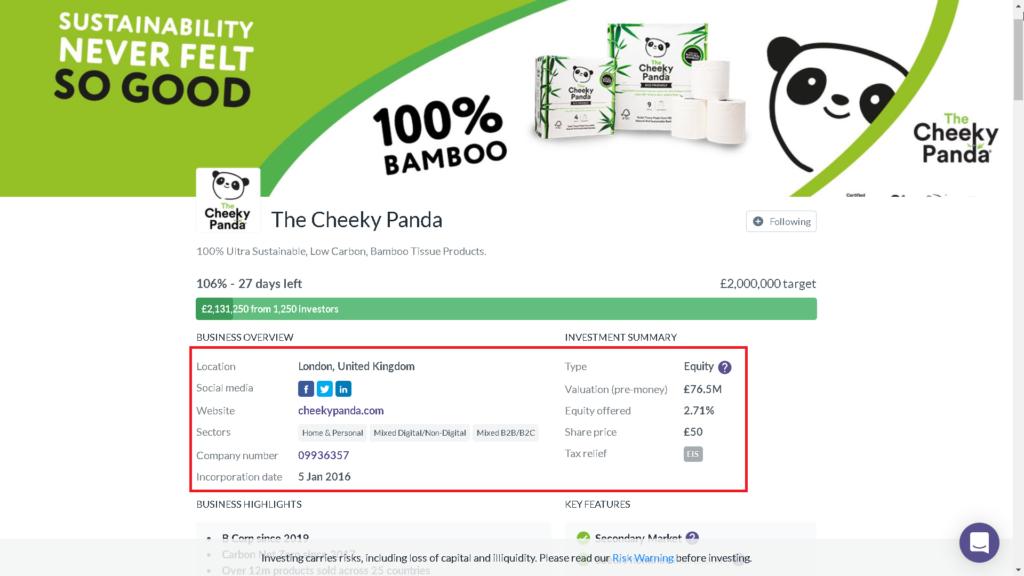 Startup befektetések, The Cheeky Panda